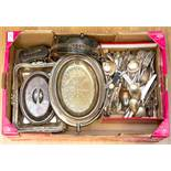 A collection of silver plated items, comprising breakfast serving dish with cover, two handled dish,