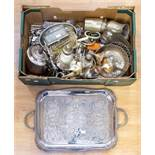 A collection of silver plate/EPNS/white metal including large two handled tray; teaware, condiments,