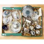 A collection of silver plate/EPNS/white metal including pair of entrée dishes and covers, circular