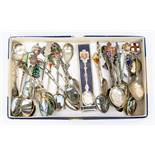 A collection of assorted silver souvenir spoons, mostly Sterling and '800' grade, of various