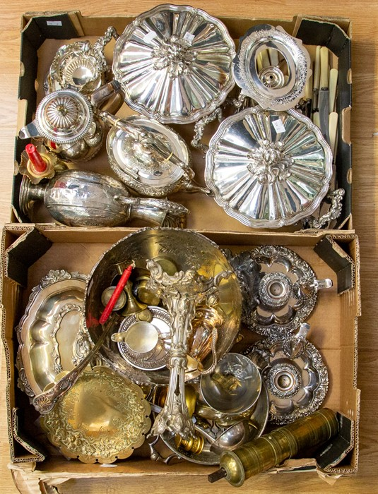 Lot 1 - Collection of plated wares including tureens, claret jugs, tea items, bowls, chamber sticks etc
