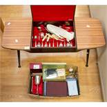 Circa 1960's coffee table/canteen of cutlery along with a collection of flat wares and plated items