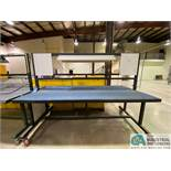 """96"""" X 48"""" TWO-SIDED PORTABLE HEAVY DUTY STEEL BENCH WITH PNEUMATICS AND LIGHT"""