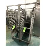 NEWAGE INDUSTRIAL (8) ALUMMINUM END LOAD 20-PAN PORTABLE SHEET/PAN RACK, 3'' SPACE (APPX $450 NEW)