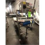 S/S PORTABLE CONVEYOR, MOUNTED ON CASTERS, S/S CONTROL PANEL, APPX L88'' X W12 X H48''