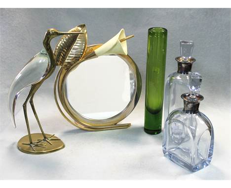 the larger 29cm high; together with a Homlegaard green glass cylindrical vase, 31cm high, a brass and glass model of a stork,