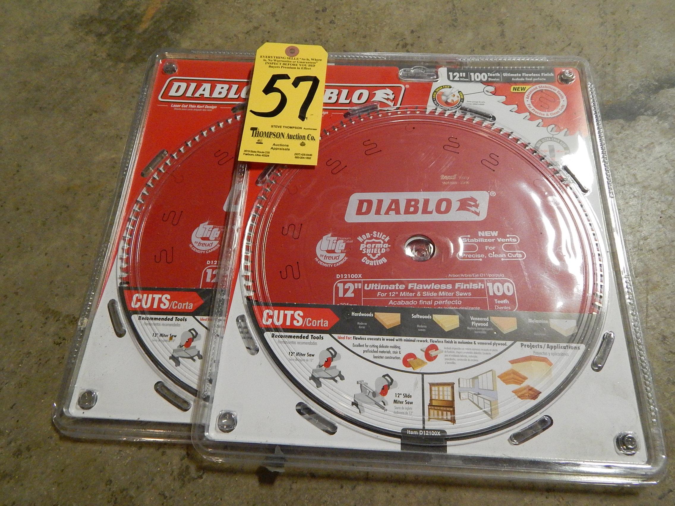 "Lot 57 - (2) Diablo 12"" Diameter/100 Teeth Carbide Tipped Saw Blades"