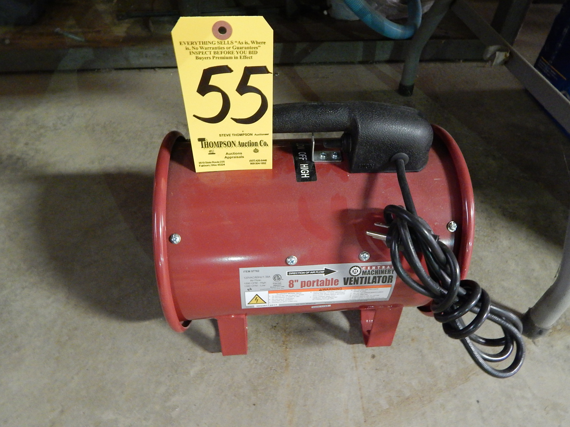 """Lot 55 - Central Machinery 8"""" Portable Vent Fan"""