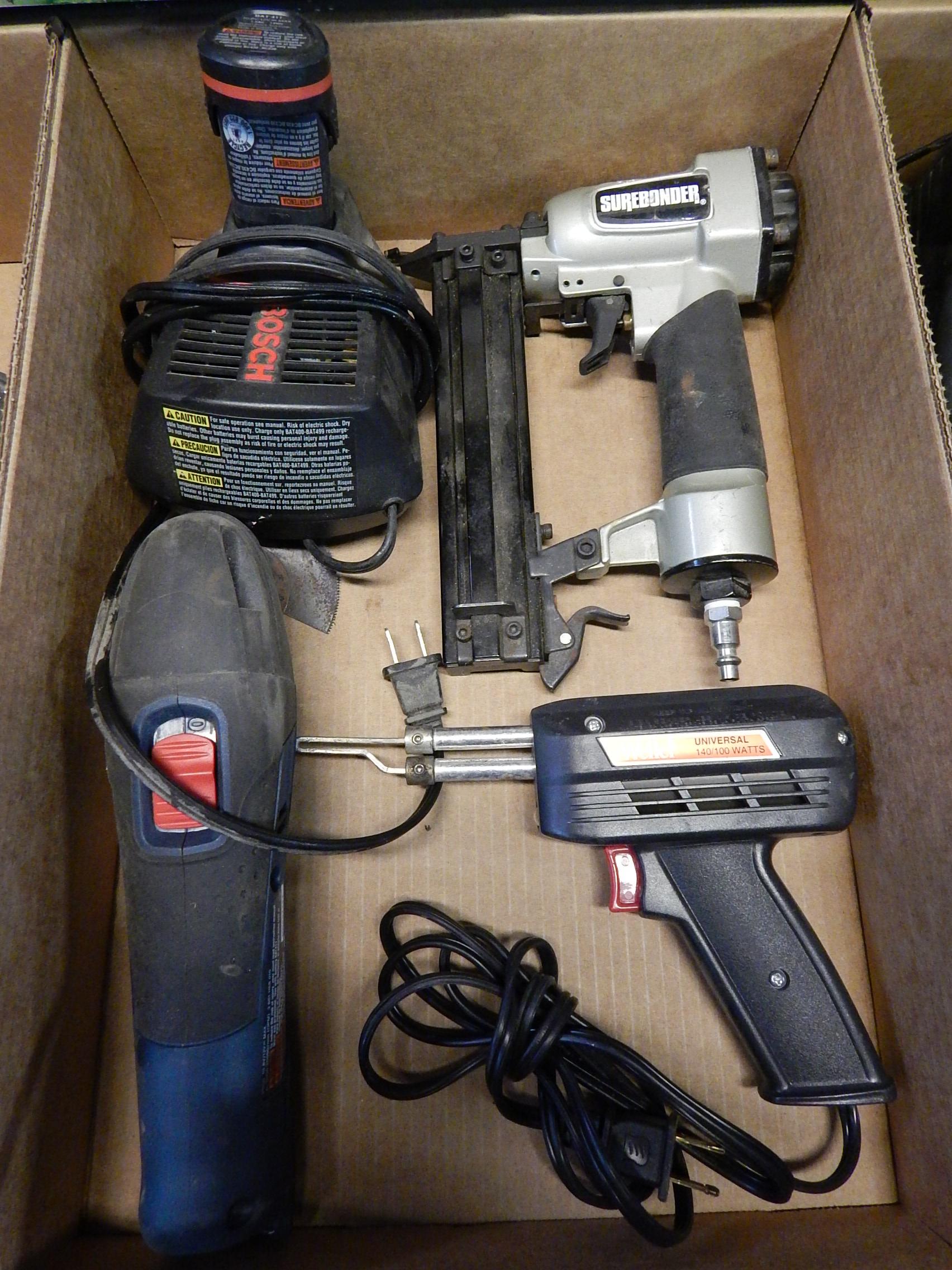 Lot 36 - Bosch PS50 Oscillating Tool, Surebonder Brad Nailer, Weller Soldering Gun