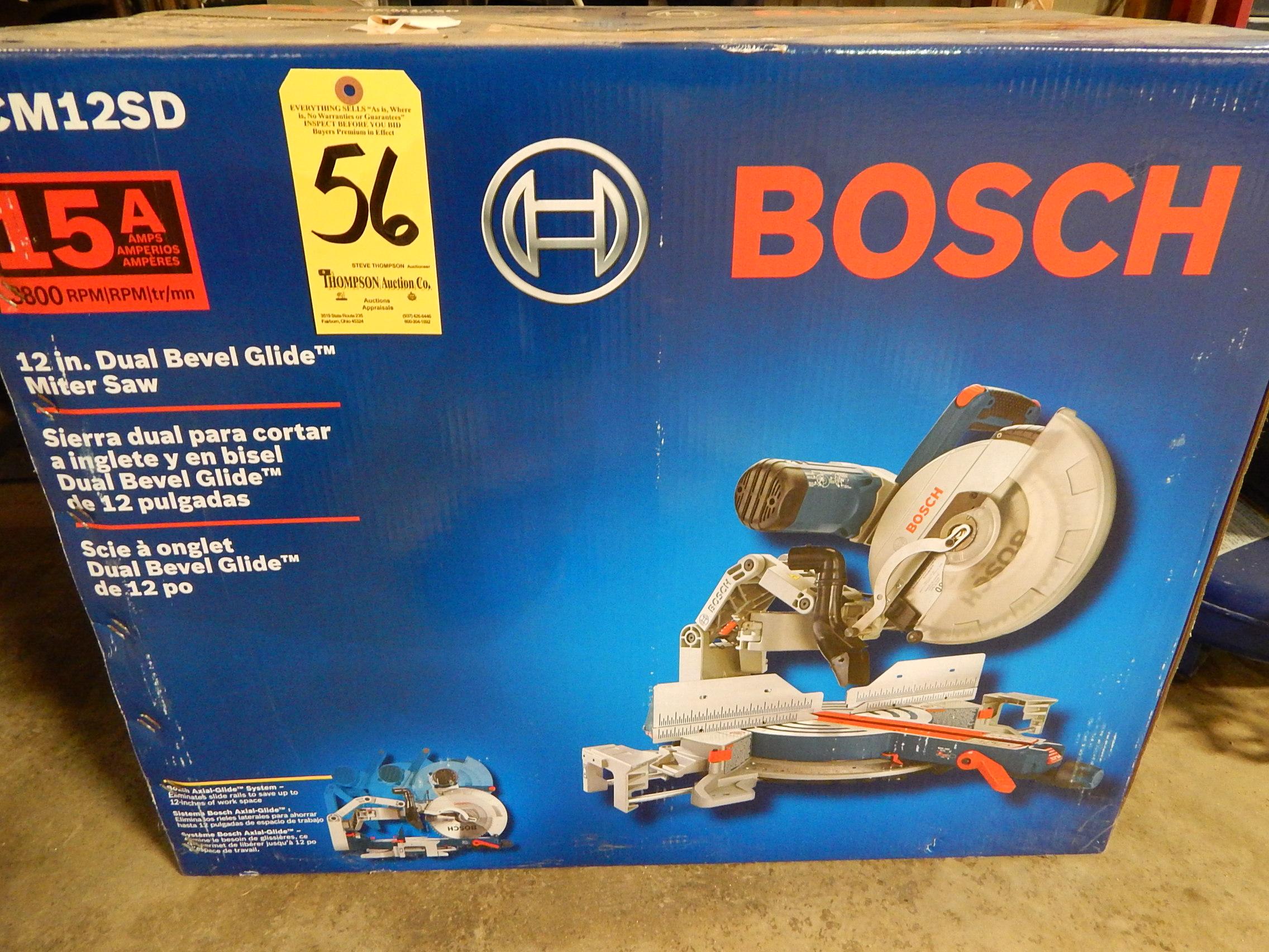 "Lot 56 - Bosch GCM125D 12"" Dual Bevel Glide Miter Saw, New in Box"