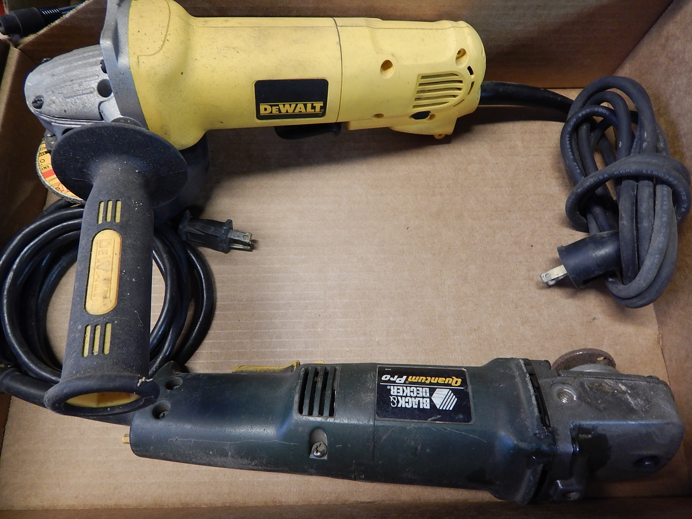 """Lot 44 - Black and Decker and Dewalt 4 1/2"""" Right Angle Grinders"""