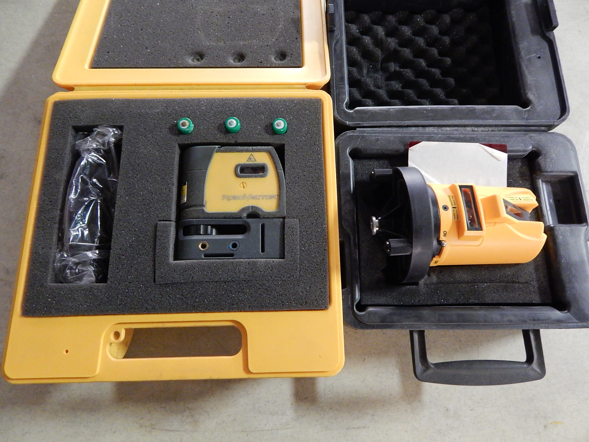 Lot 3 - E-Z Read Cross Shot Laser Level and Robo Vector Laser Level