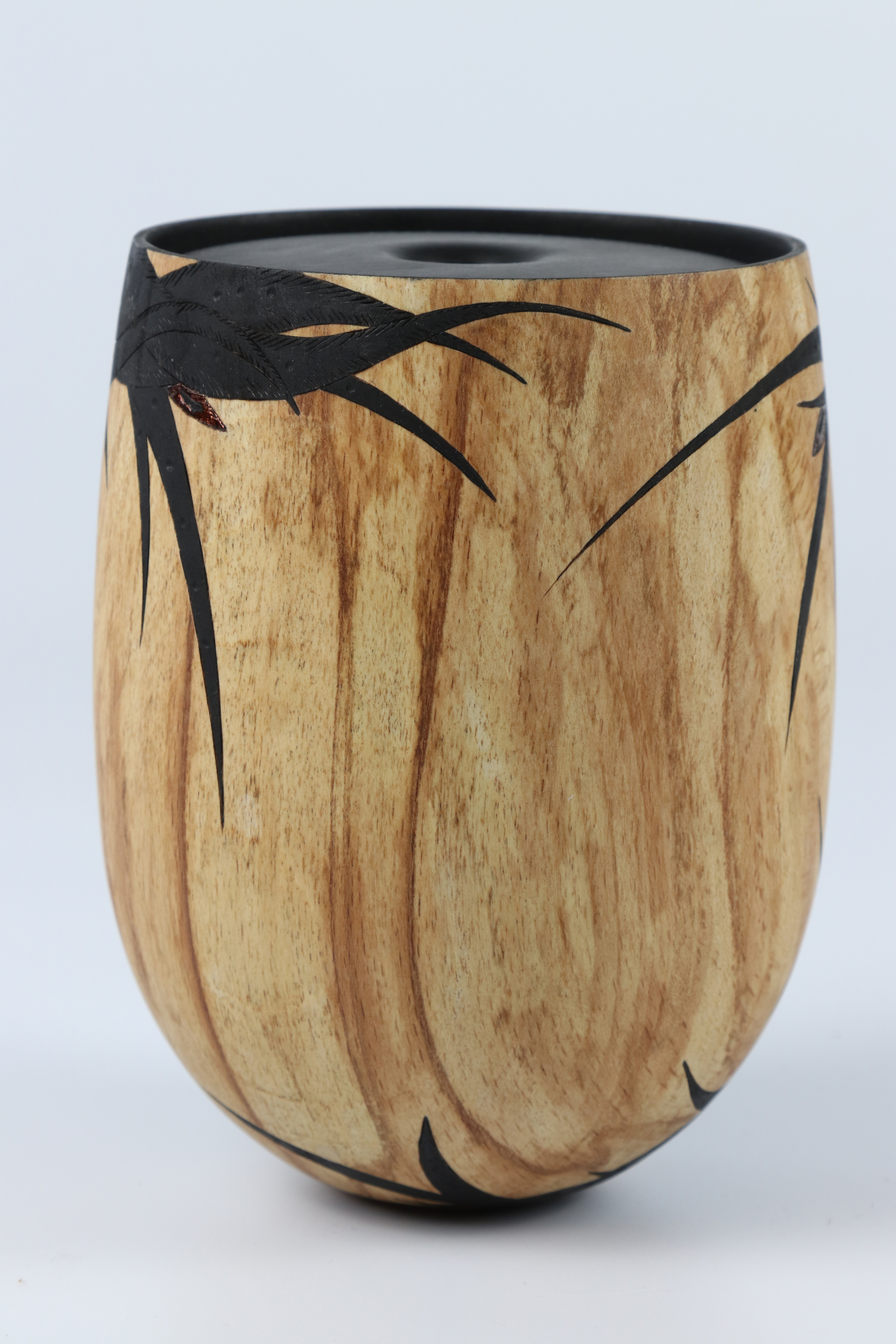 Lot 103 - Sally Burnett (UK) carved and coloured spalted beech hollow form 14x11cm. Signed