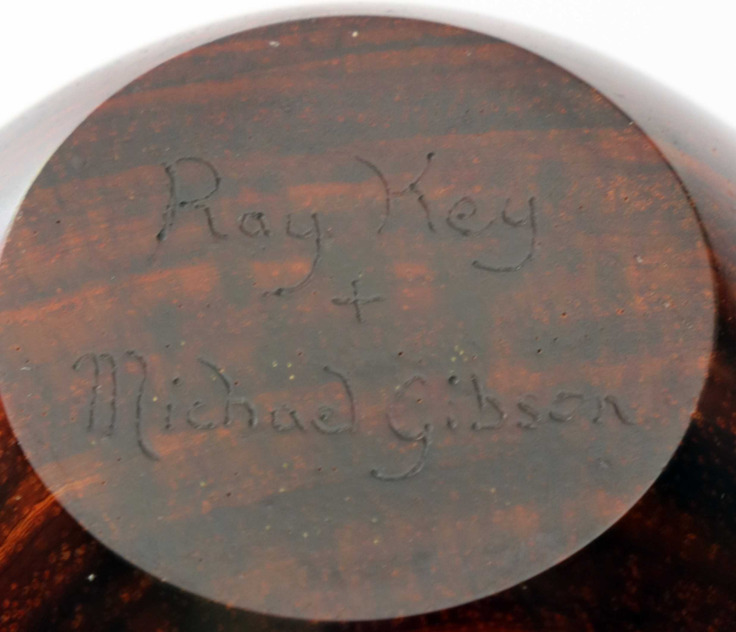 Lot 77 - Michael Gibson (USA) cocobolo hollow form 17x8cm. Signed