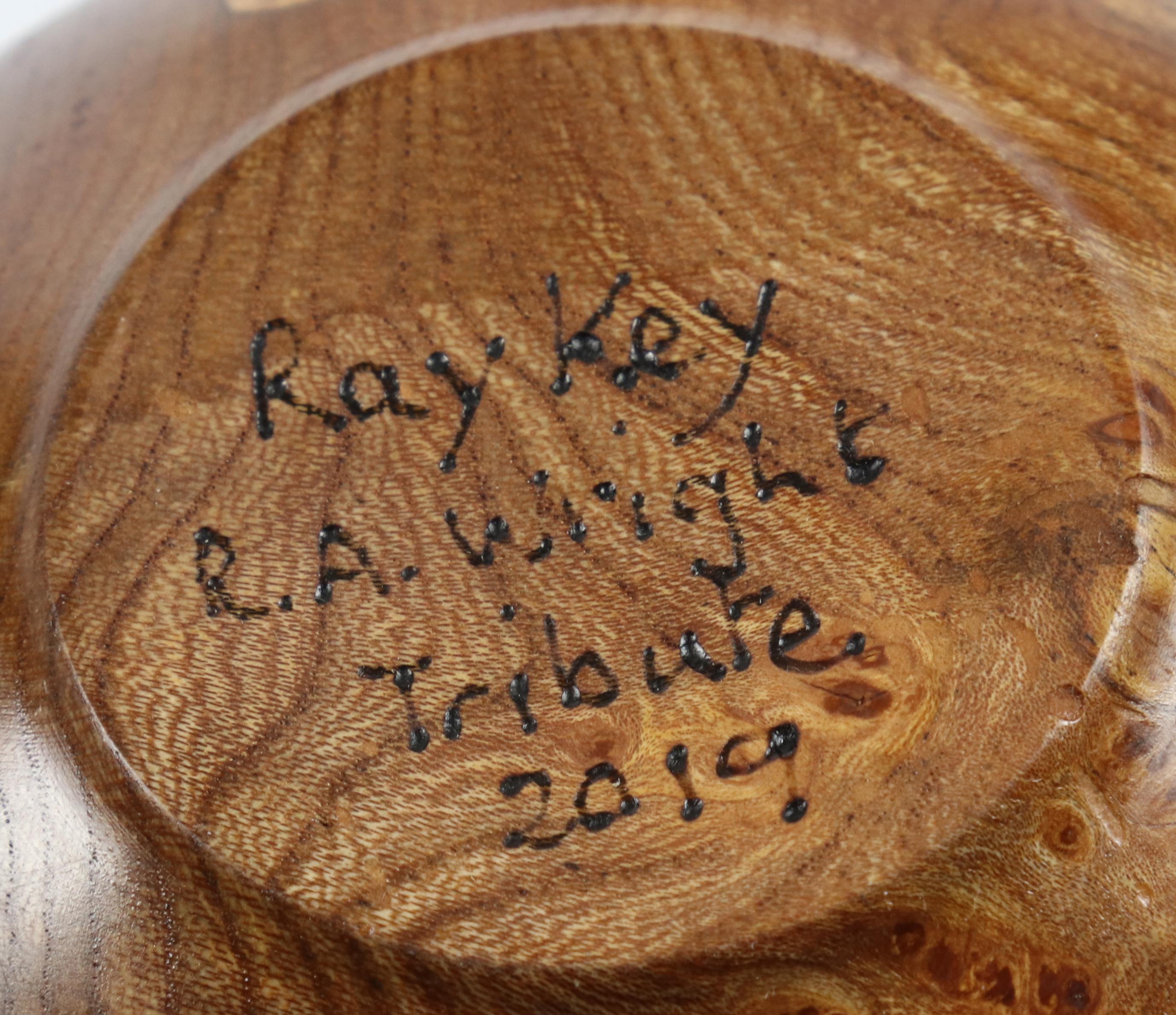 Lot 101 - Rosemary Wright (UK) burr elm lidded vessel 14x14cm. Signed