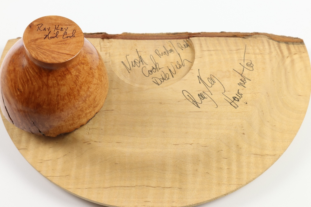 Lot 88 - Nick Cook (USA) unknown burr natural edge bowl 9x8 cm with souvenir part turned platter from Ray Key