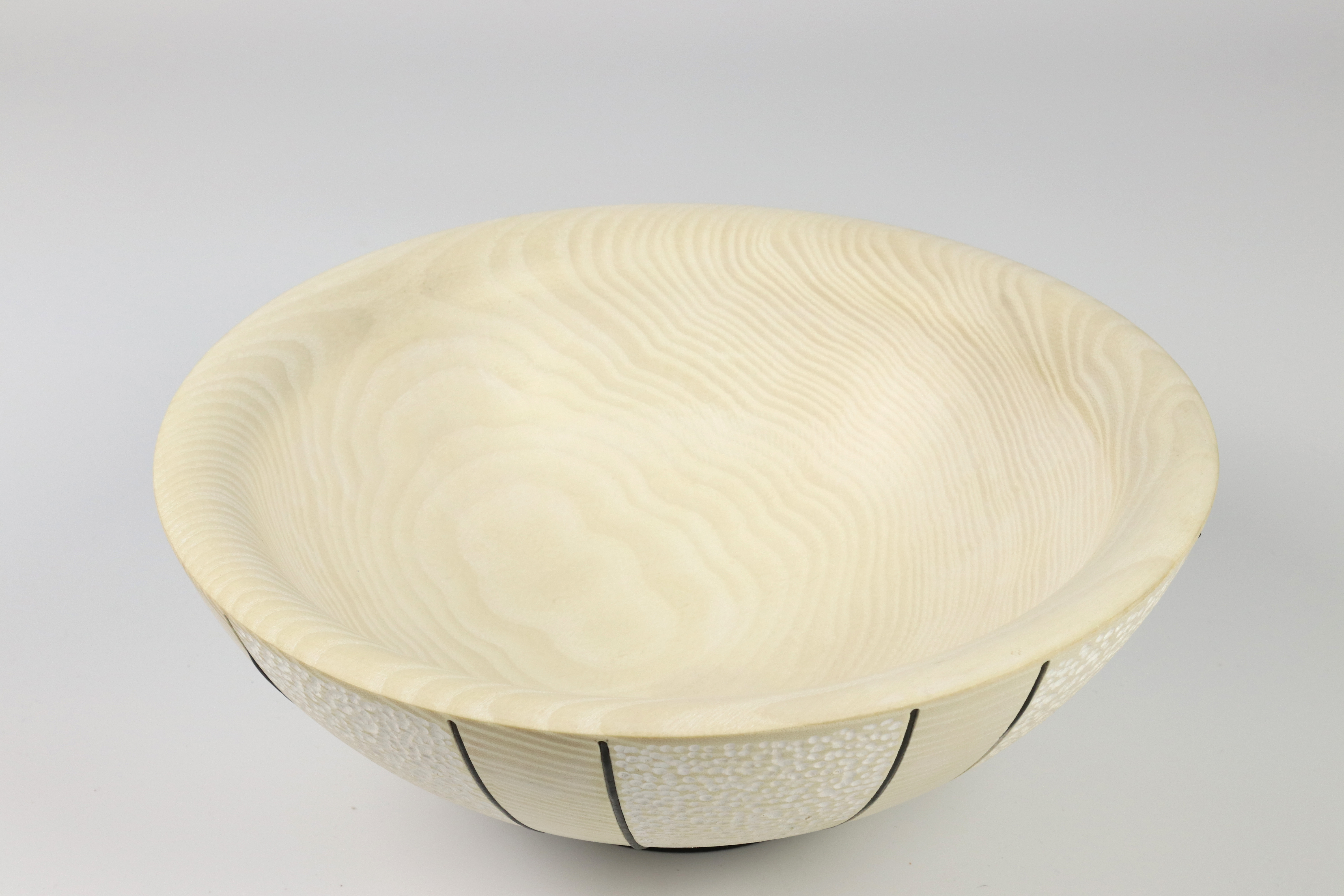Lot 117 - Trevor Lucky (UK) textured and bleached/coloured ash bowl 10x25cm. Signed