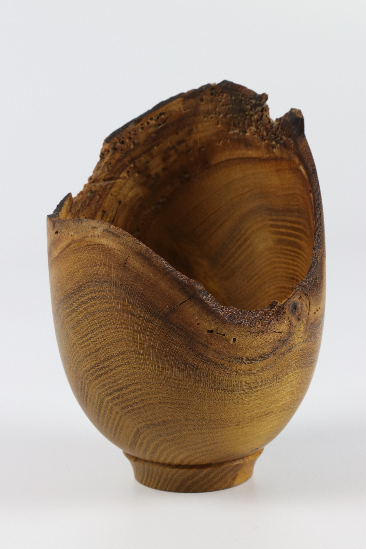 Lot 66 - Mark Baker (UK) laburnum natural edge vessel 16x10cm. Signed
