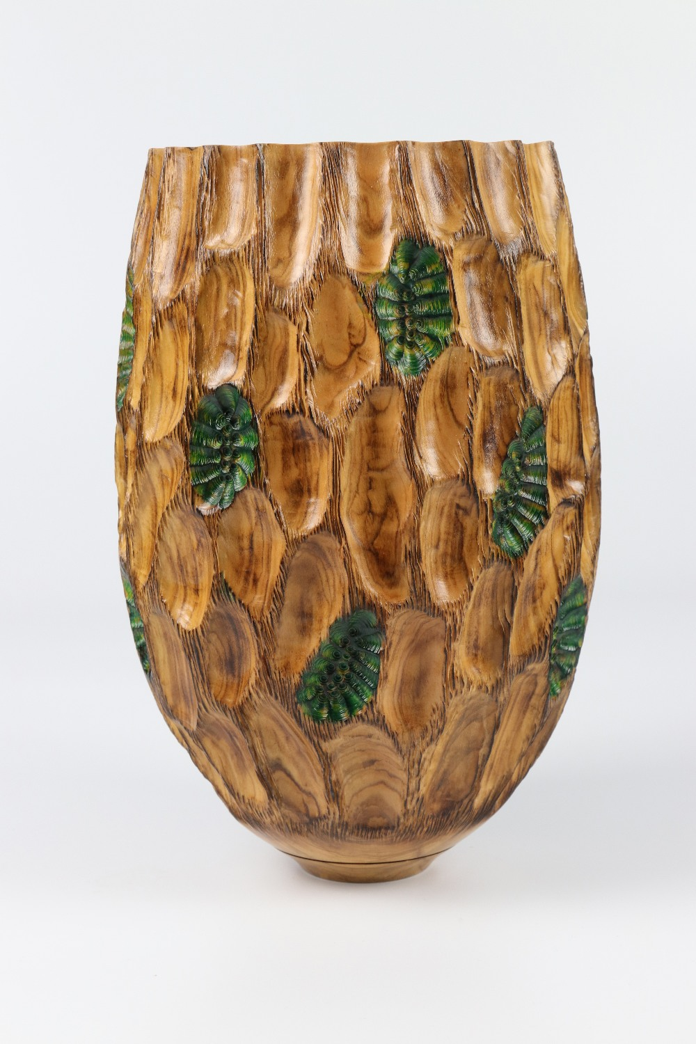 Lot 116 - Tracy Owen (UK) carved and coloured olive vessel 26x16cm. Signed