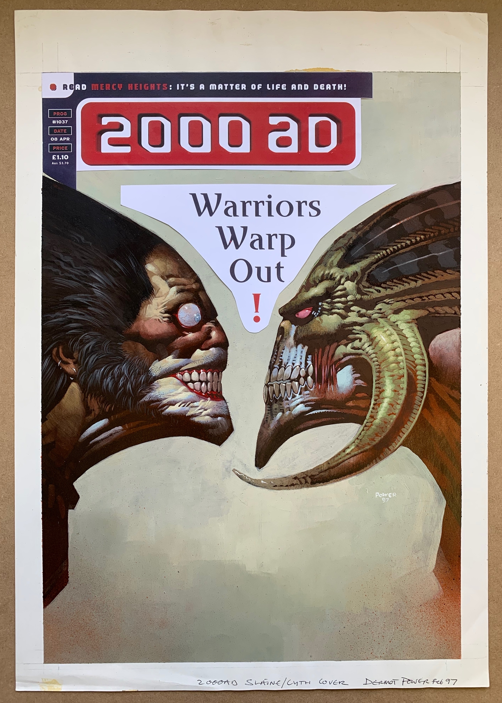 """2000 AD #1037 (1997) - """"Slaine vs Cyth"""" ORIGINAL FRONT COVER ARTWORK - SIGNED, DRAWN & PAINTED by"""