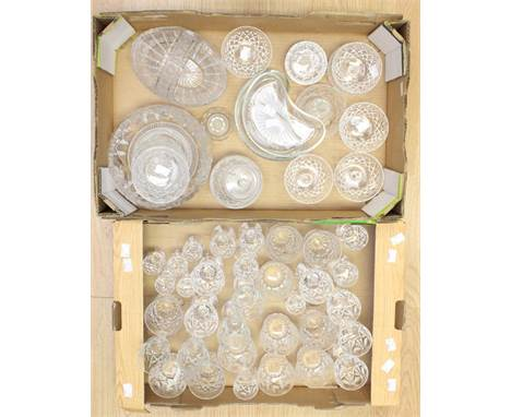 A large collection of cut and moulded glass to include: wine, port, tumbler and champagne flutes, with vases, baskets etc (2