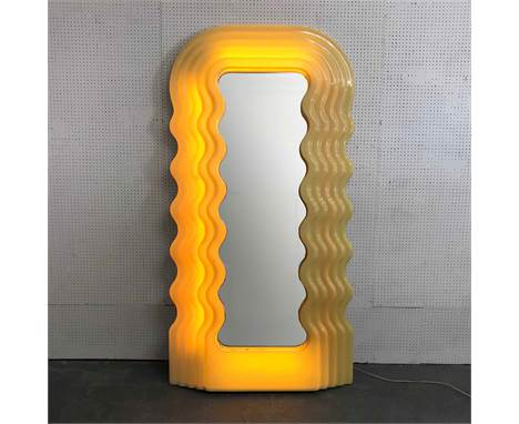 ATTRIBUTED TO ETTORE SOTTSASS ULTRAFRAGOLA MIRROR, with light up perspex frame, 195cm x 100cm.