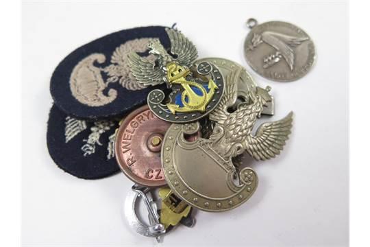 Polish WW2 collection of badges  2x Polish Army cap badges