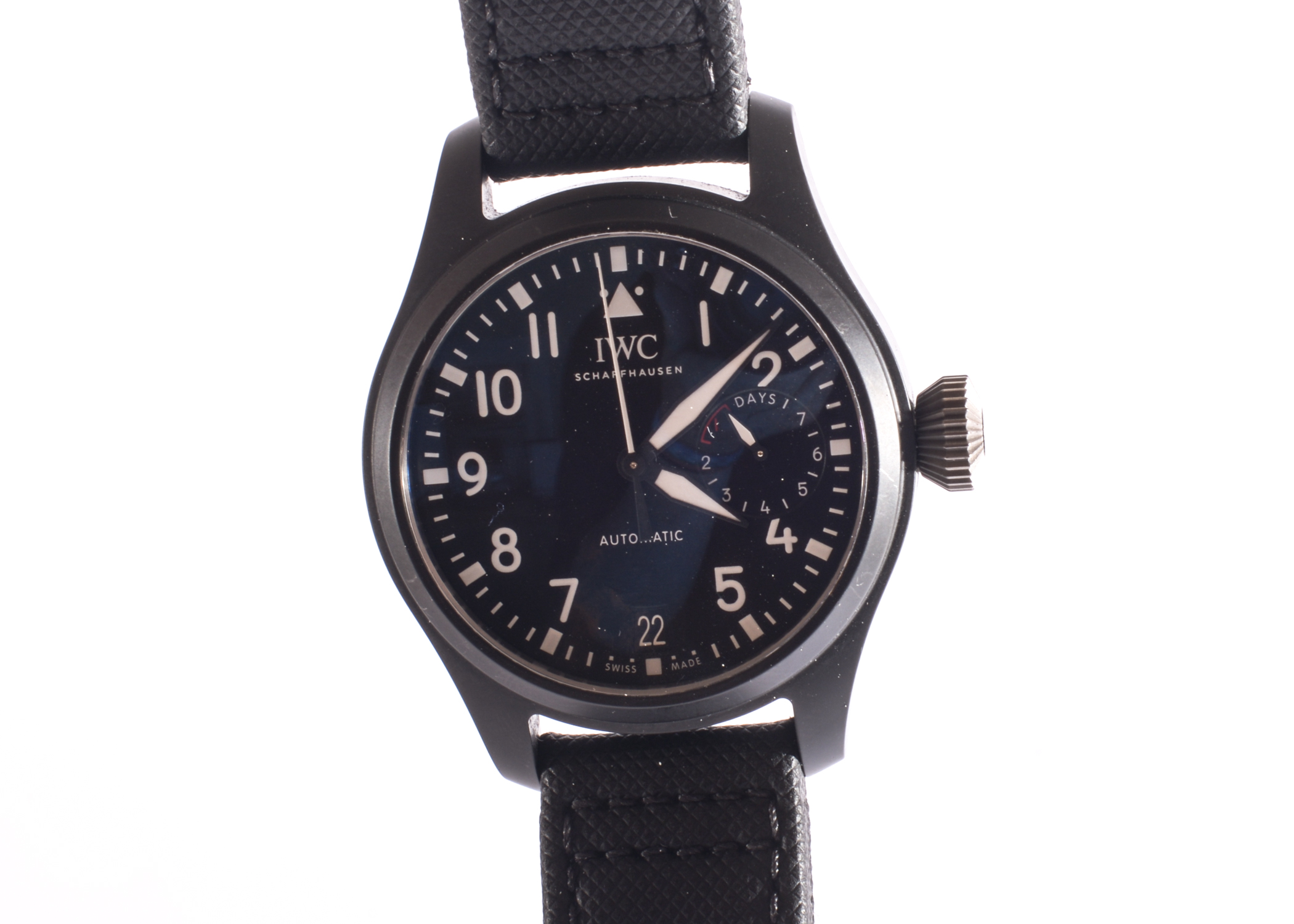 Lot 1 - An IWC SCHAFFHAUSEN Model IW502001 Big Pilots Watch. Top Gun Wrist Watch with Black Ceramic Case &
