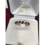 18ct GOLD RUBY & DIAMOND 1/2 ETERNITY RING