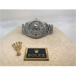 """Mens Solid White Gold Diamond/ Sapphire Day-Date """"Super President"""" Watch"""