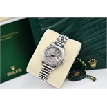 Rolex Steel & 18k White Gold *Diamond Encrusted* Lady DateJust with Silver Grey Diamond Dial