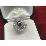 FINE 18ct WHITE GOLD BLUE SAPPHIRE & DIAMOND RING