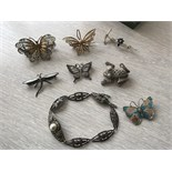 6 EDW SILVER BROOCHES + 1 OTHER + SILVER BRACELET