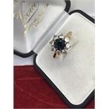 18ct GOLD SAPPHIRE 1.00ct & DIAMOND 0.85ct RING
