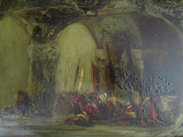 "Lot 24 - Impressionist oriental scene - figures seated under an arched roof, oil on artist board, 5 6/8"" x"