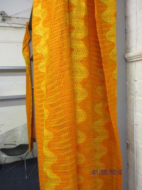 Lot 55 - A pair of retro orange curtains and others, together with three cushions