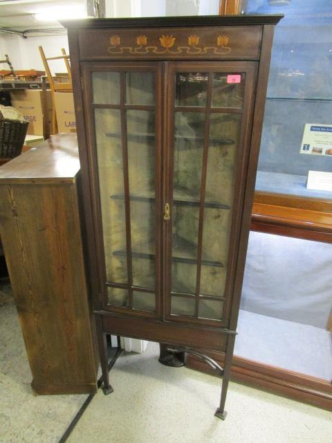 """Lot 35 - An Art Nouveau inlaid mahogany corner cabinet on square tapering legs with spade feet, 64 2/8"""" x 26"""""""