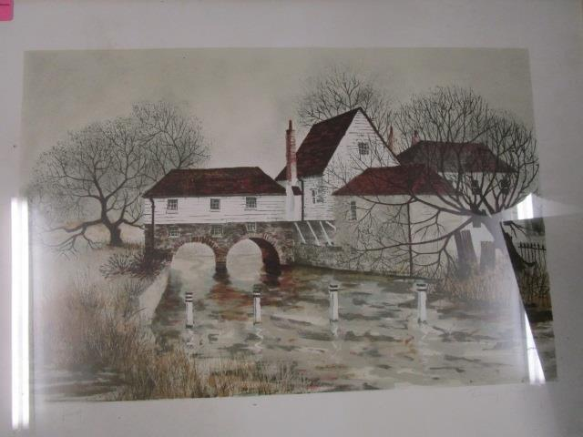 Lot 33 - Jeremy King b 1933 Bray Mill House, a signed artist proof print, signed in pencil to lower margin,