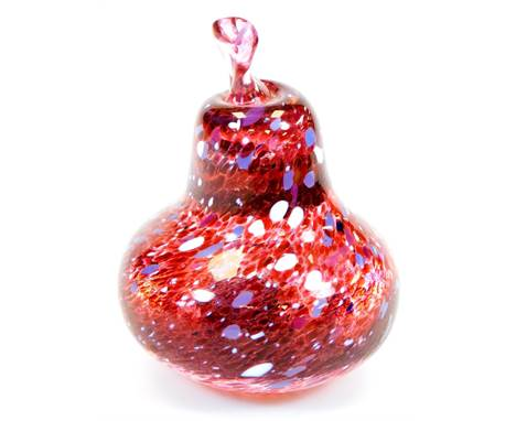 A Nailsea style Our Glass pear, in red cream and purple colour way, signed, 9cm high.