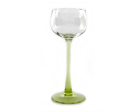 Lobmeyr (attributed), a Secessionist drinking glass, circa 1920, the vertically ribbed rounded bowl on a uranium green splaye