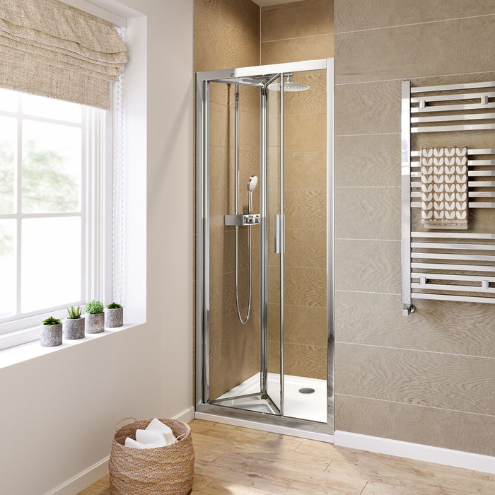 Lot 1 - (W73) 800mm - 6mm - Elements EasyClean Bifold Shower Door. RRP £299.99. 6mm Safety Glass - Single-