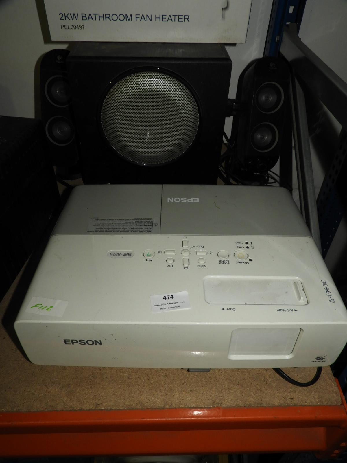 Lot 474 - Epson EMP822H LCD Projector with Logitech Sub Woof