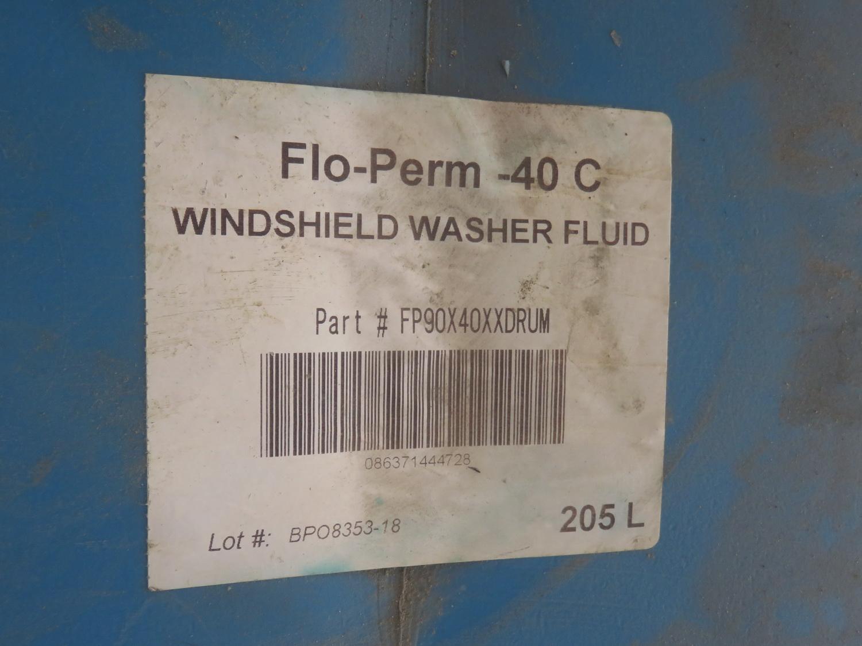 LOT - ANTIFREEZE + ASSTD CHEMICALS, BARREL OF WINDSHIELD WASHING FLUID + BLUE STEEL CART - Image 2 of 2