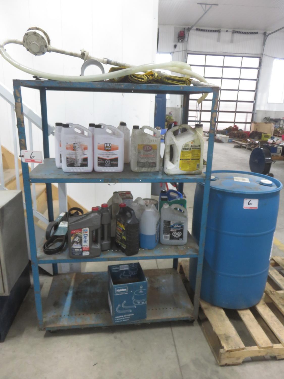 LOT - ANTIFREEZE + ASSTD CHEMICALS, BARREL OF WINDSHIELD WASHING FLUID + BLUE STEEL CART
