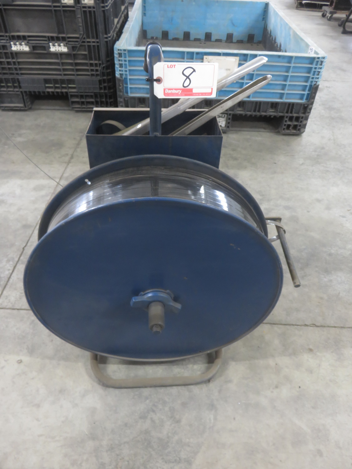 BLUE STEEL STRAPPING CART W/ STRAPPING & TOOLS