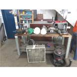 LOT - ELECTRIC POWER TOOLS, VISE, WORK BENCH, FAN ETC