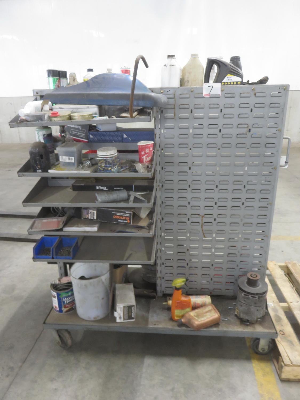 GREY STEEL PORT SHOP CART W/ CONTENTS - Image 2 of 2