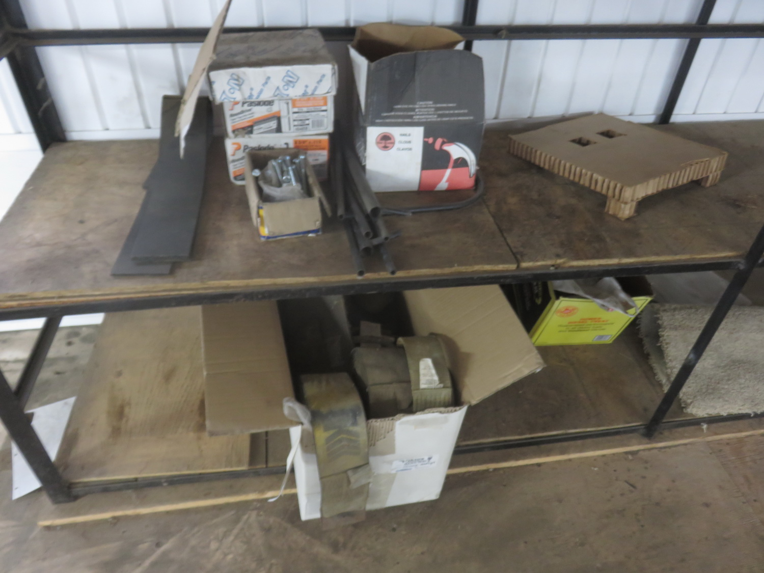 LOT - STEEL + WOOD SHELVING UNIT W/ STRAPS + RUBBER PADDING - Image 2 of 2