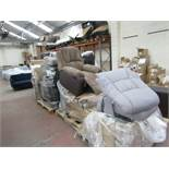 9x Pallets of Various Reclining sofas all appear to have fault such as rips, mechanism faults and