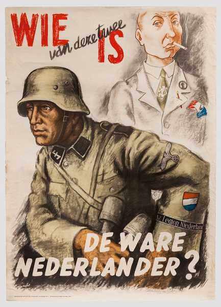 """Werbeplakat für niederländische Freiwillige der Waffen-SS Mehrfarbiger Druck, unten bezeichnet """""""